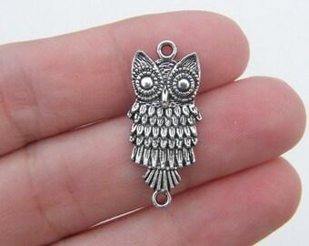 5 Owl connector charms antique silver tone O32