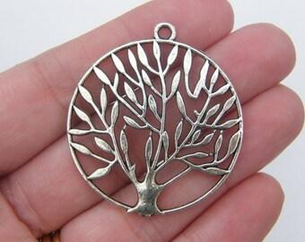 2 Tree pendants antique silver tone T9