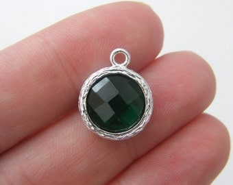 1 May birthstone emerald 17 x 14mm silver plated
