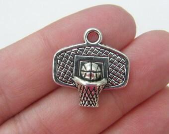 6 Basketball pendants antique silver tone SP103