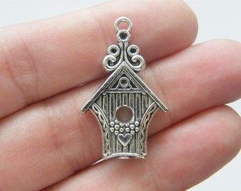 4 Bird house pendants antique silver tone B45