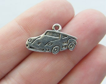 8 Sports car  charms antique silver tone T12