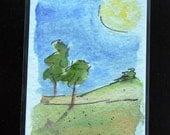 ACEO ~ Two Trees ~ Doodleland - Watercolor - Free Shipping