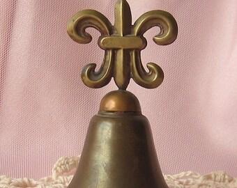 Vintage Fleur De Lis Brass Bell