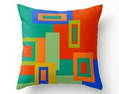 COLORFUL SQUARES decorative pillow, colourful scatter cushion, geometric home decor, red gold cobalt turquoise orange green, made to order