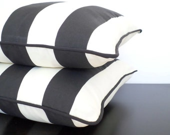 Black outdoor cushion cover 20x20, striped outdoor pillow dorm decor, wide striped cushion, black and ivory outdoor pillow case porch decor