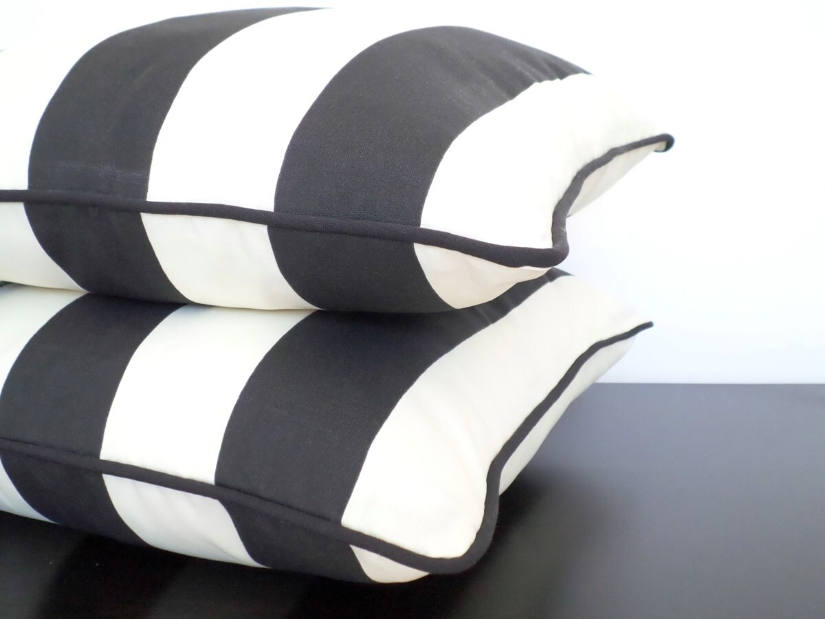 Black Outdoor Cushion Cover 20x20 Striped Outdoor Pillow Dorm