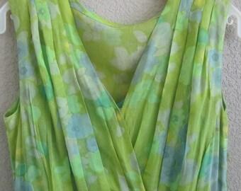 DRESS Lime Green Print with Aqua Underdress Sleeveless
