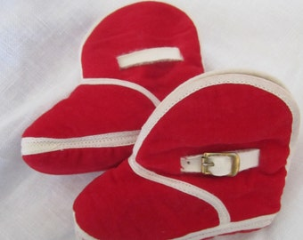 Baby RED Booties like Boots Whtie Trim made in Japan