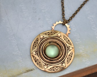 steampunk jewelry - GREEN MOONLIT - Victorian style antiqued brass necklace with vintage glass moonstone cab