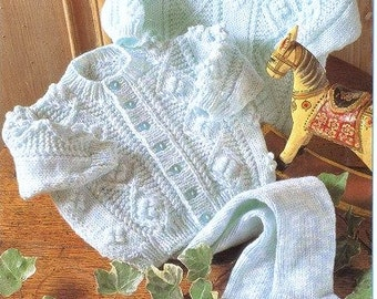 PDF Download Baby Knitting Pattern -  Aran Cardigan, Sweater and leggings - 16 - 22 in chest PDF