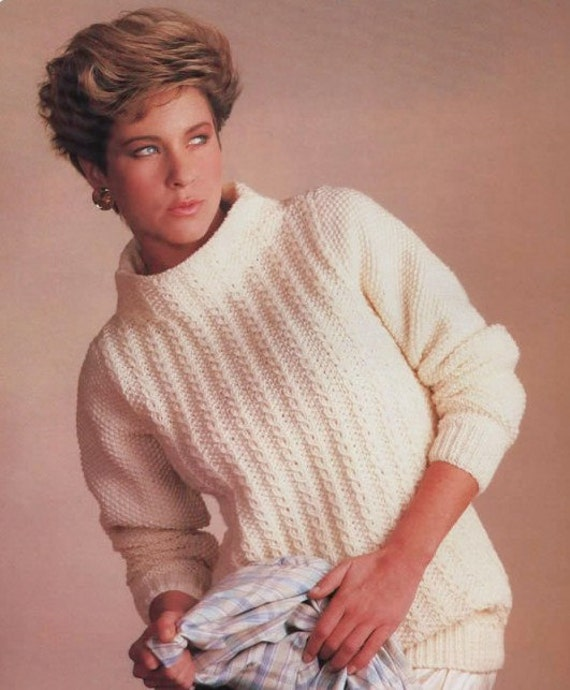 Knitting Patterns Ladies Jumpers Double Knit : Download instantly Knitting Pattern Ladies Aran/Fisherman