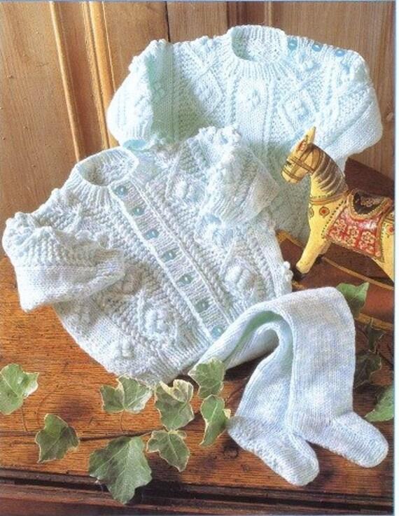 Baby Knitting Pattern DK Aran Cardigan Sweater and leggings