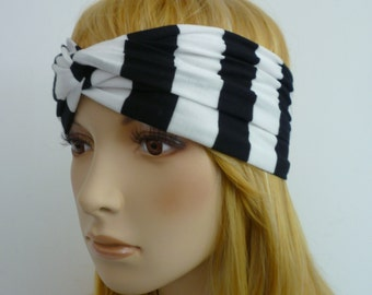 White Black Stripes Turban Headband Jersey, Twist Headband, Workout Headband Yoga Headband, Bohemian Woman boho hippie head wrap