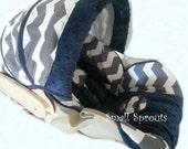 Joseph~Grey Chevron/Navy Minky Dot Infant Cover Set Set 5 piece set