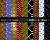 Digital Scrapbooking Printable Paper - 12x12 jpg - Glitter Christmas Pack 1