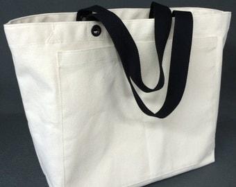 Canvas Tote Bag XLarge Natural w/Interior Zippered Pocket, vegan canvas bag, big canvas tote bag, tote bag, tote bag with pocket, beach bag