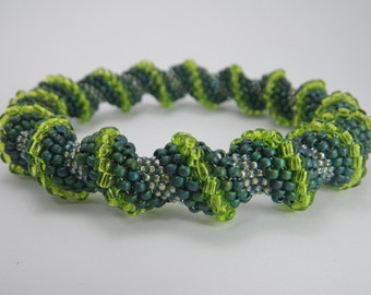 FOREST FLOOR Peyote Stitch Cellini Spiral Bangle - Seed Bead Bracelet - Shades of Green - Hand Woven Jewelry - Off Loom Bead Weaving