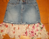 Upcycled Denim Skirt with Flowing Flowered Ruffles