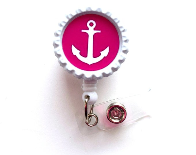 Hot Pink Anchor - Nursing Badge Holder - Teacher Badge Reel  - Nurse Name Badge - Nurses Badge - Cute ID Badge Reel - Sea Pass