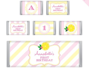 Pink Lemonade Party - Personalized DIY printable Hershey bar labels
