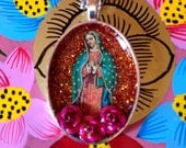Our Lady of Guadalupe Orange Mexican Nicho Necklace