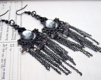 Art Nouveau Earrings Art Deco Earrings 1920's Black Chandelier Earrings Black Dangle Earrings Jet Black Jewelry  Estate Style Old Hollywood