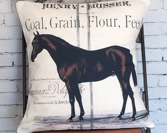 Pillow Cover Equestrian Farmhouse Horse Decor Pillow