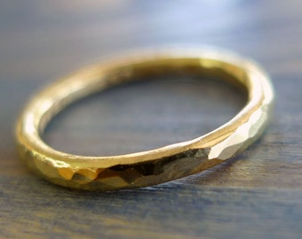 More Gold. 18K Thick Hammered Band. Gold Ring. Fine Jewelry. Gold Hammered Band. Textured Handmade Ring. Man Jewelry.