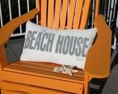 "Outdoor BEACH HOUSE PILLOW your choice color on white 14""x24"" Crabby Chris Original"