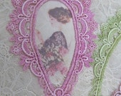 Venise Lace Frame Hand Dyed Embellishment Crazy Quilting Mixed Media