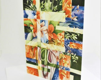 Shattered Reality XVIII (Orange and Lavender Flowers in Tall Vase) - Blank Note Cards