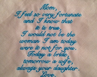 Mother of the Bride LACE SCRIPT Heirloom Personalized Wedding Handkerchief Custom Embroidered