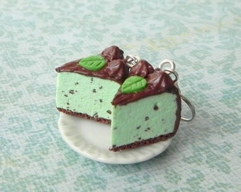 Mint chocolate chip ice cream cake earrings