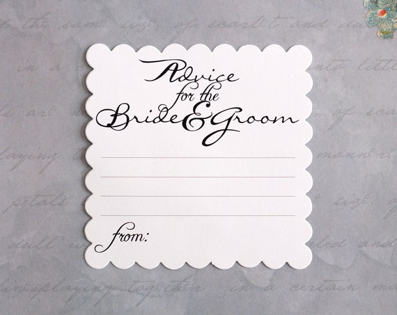 Advice For The Bride And Groom Wedding Advice Cards White
