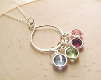 Infinity Family Necklace, Sterling Silver with Swarovski Crystal, Mothers Jewelry, Grandma Necklace, Family Birthstone Necklace, Mom Jewelry