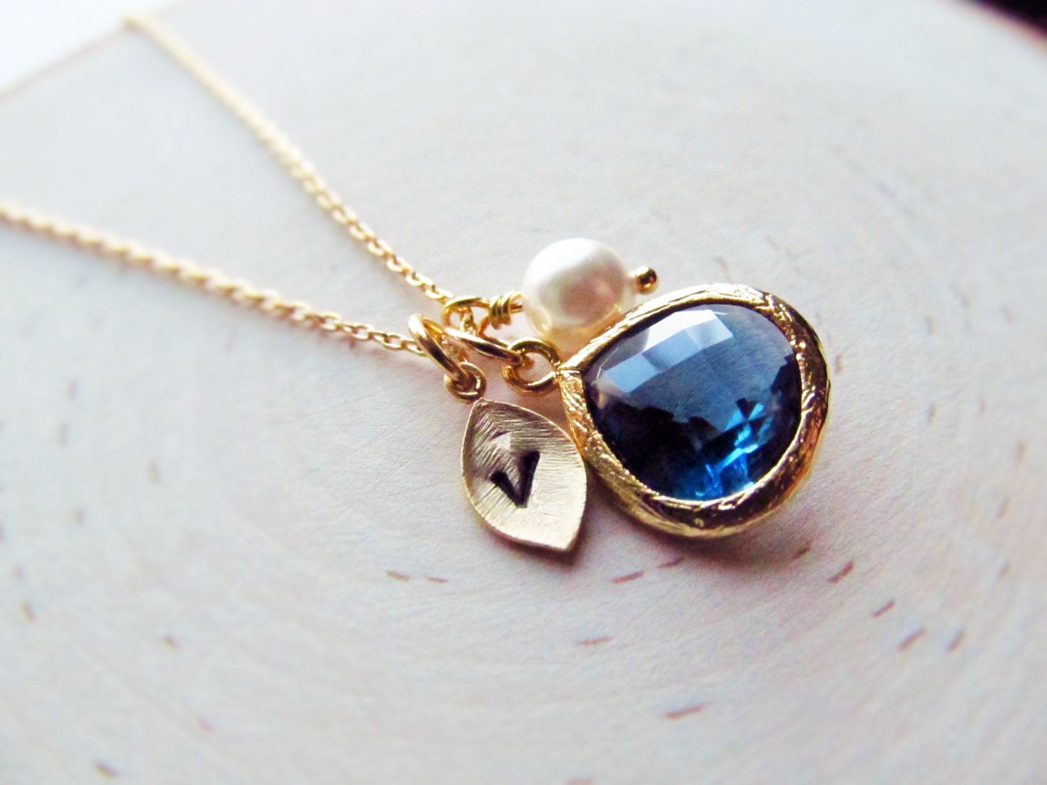 sapphire necklace september birthstone necklace gold leaf. Black Bedroom Furniture Sets. Home Design Ideas