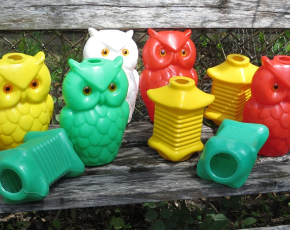 Vintage Owl Lantern Awning String Party Lights Blow Mold Rv