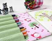 Crayon Artist Case, crayon organizer, coloring wallet, art supplies, crayon caddy, kids gift idea, childrens gift - LITTLE RABBIT - OurLittleMesses