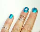 Sterling Silver Midi Rings - Size 4 - Hammered - 2 Ring Set - Stackable - Toe Ring