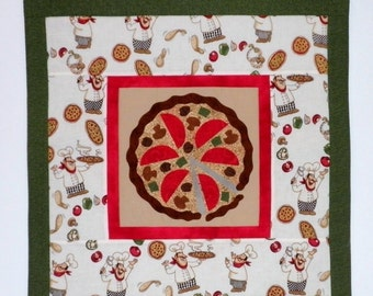 Fabric Wall Hanging of a Pizza with Chefs