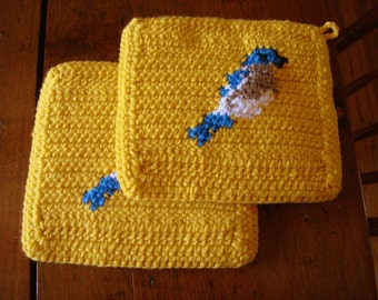 Bluebird Potholders, Yellow Potholders, Bird Crochet Potholders, Pot Holders, Hot Pads, Set of Two, Kitchen, Mothers Day Gift MADE TO ORDER