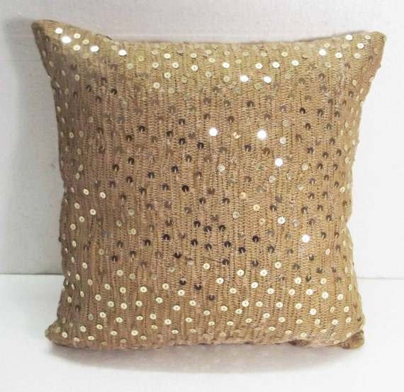 Gold Brown Throw Pillows : Gold brown texture silk pillow decorative pillow wedding gift