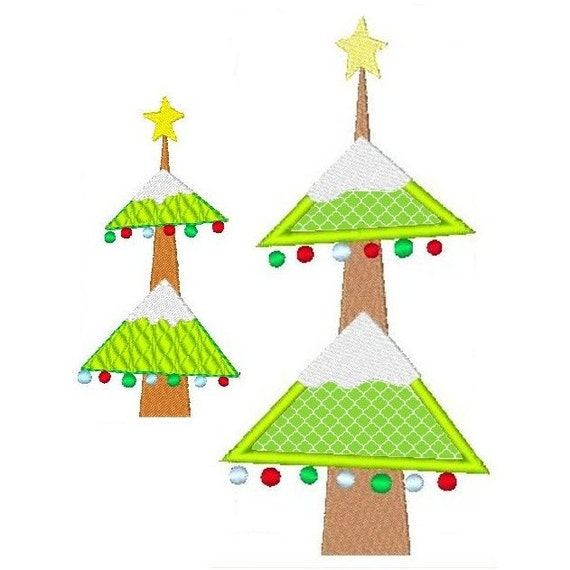 Chirstmas tree applique embroidery design modern by