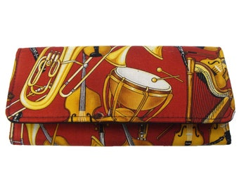 """USA Handmade Bifold Woman Wallet with """"The Whole Orchestra """" Pattern,  Cotton Fabric, NEW"""