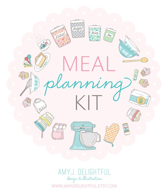 Meal Planning Kit - Digital File Instant Download- menu planning, recipe cards, with scripture