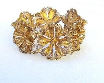 Lacy Silver Bracelet, Vermeil Filigree, Gold Plate, Vintage, Wedding