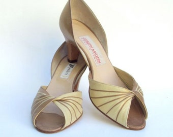 Heels Shoes are Gold & Bronze Leather D'Orsay Peep-Toes Vintage