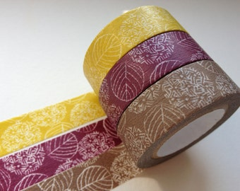Classiky Japanese Washi Masking Tape SINGLE - Hydrangea Brown, Mustard Yellow or Purple (Choose one)