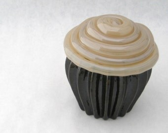 blown glass cupcake opaque CHOCOLATE BROWN & VANILLA